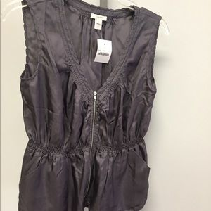 J.Crew Gray Zip Vest Size 0 New with Tag